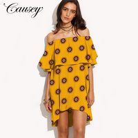2019 Latest Women Summer Casual High Quality Sexy Off Shoulder Mini Fall Dress