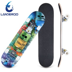 2018 newest design blank longboard deck canadian maple skateboard longboard with soft PU wheels