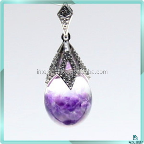 Silver sterling Shinning 925 Silver Sterling 3D Floating Gemstone Pendants