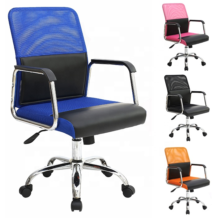 summer office chair of office cooling seat cushion low back mesh chair blue