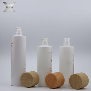 wooden lid cap good design hot sales print white clear cosmetic pump bottle