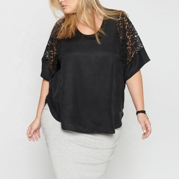Latest fashion short sleeve blouses black plus size lace tops