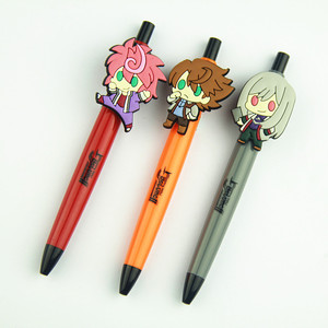 Promotional cartoon plastic customized pen with rubber pvc cute special design clip