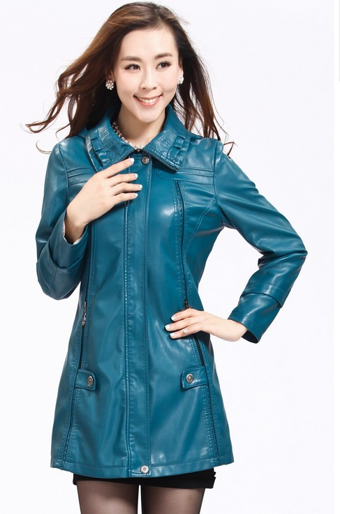 Large size 5XL autumn and winter leather clothing female medium-long leather jacket women female leather coat womens