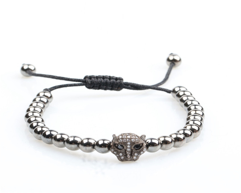 High quality adjustable stainless steel silver bracelet fitness leopard zircon bracelets men accessories