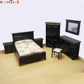 Wooden Doll House Bedroom Set Mini Furniture