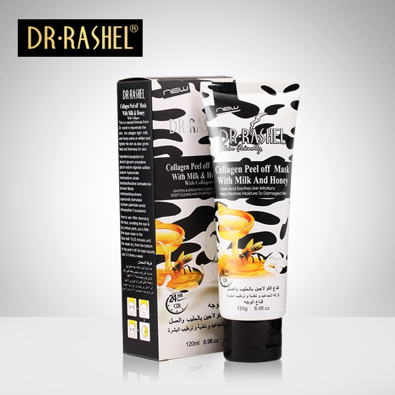DR.RASHEL 120ml Collagen Milk Honey whitening Moisturizing Deep Clean face mask Peel Off facial Mask