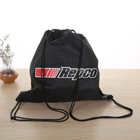 Promotional cheap custom printed black polyester drawstring backpack for sports/travel