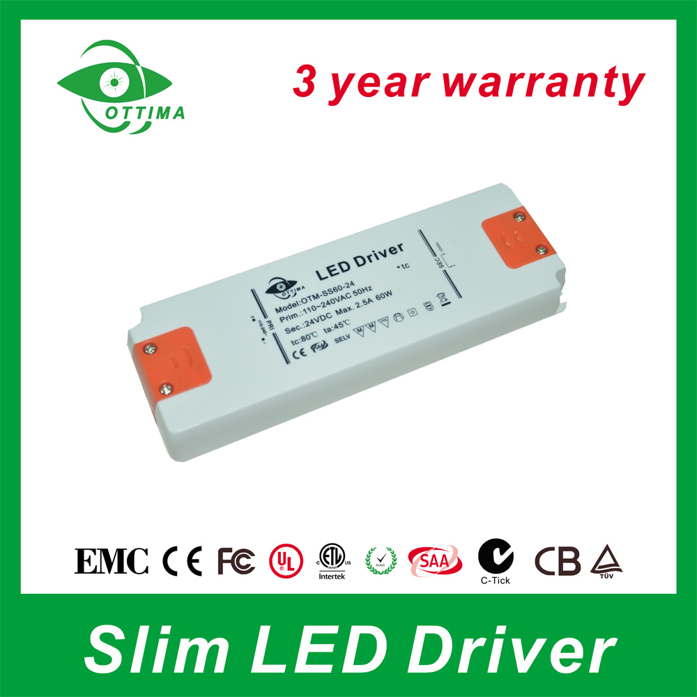 3 years warranty Ultra thin size led power supply 60W super slim led driver 5A