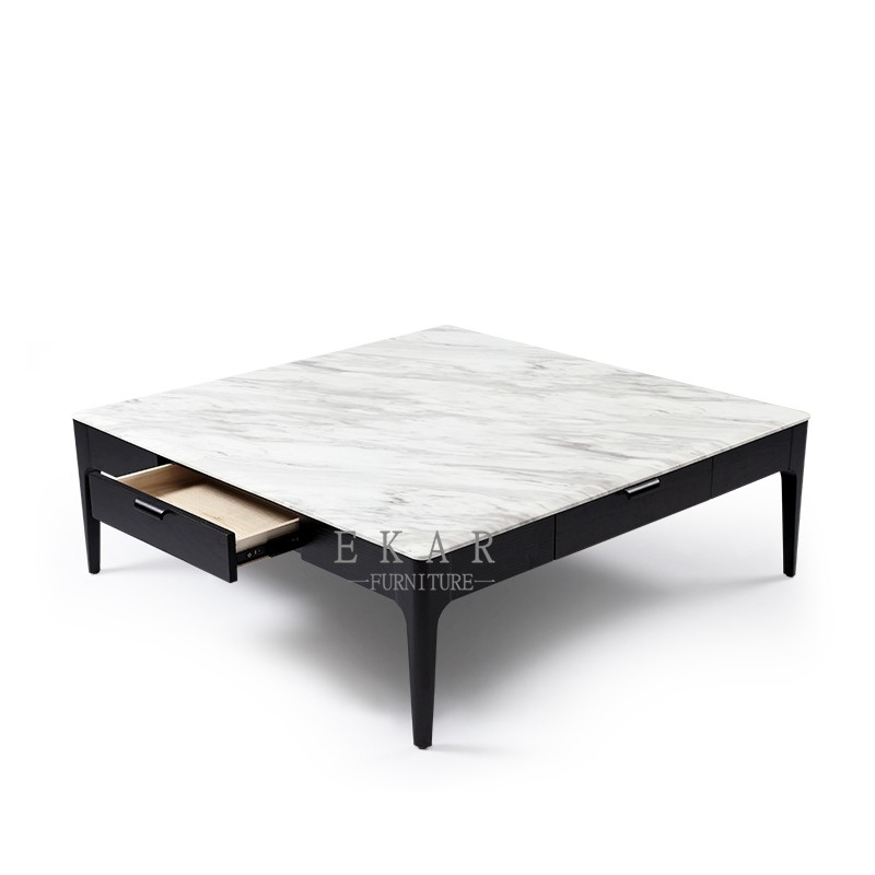 Square Ash Wood Frame White Marble Top Center Modern ...