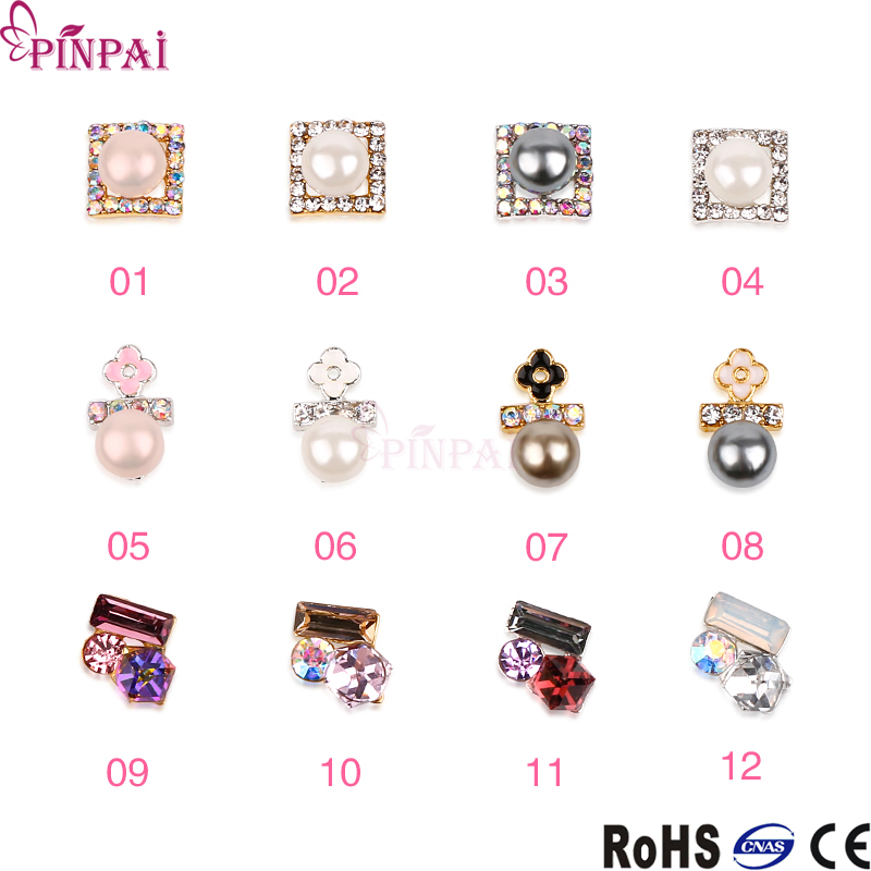 Pinpai brand alloy pearl crystal new fashion DIY 3d nail art decorations nail sticker