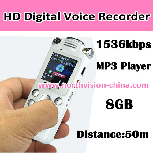 8gb digital conference recorder with timing record, noise reduction, dual microphone