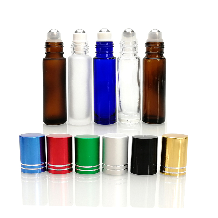 Alibaba empty perfumes amber blue frosted clear colors 10 ml glass roll on bottle with metal roller ball