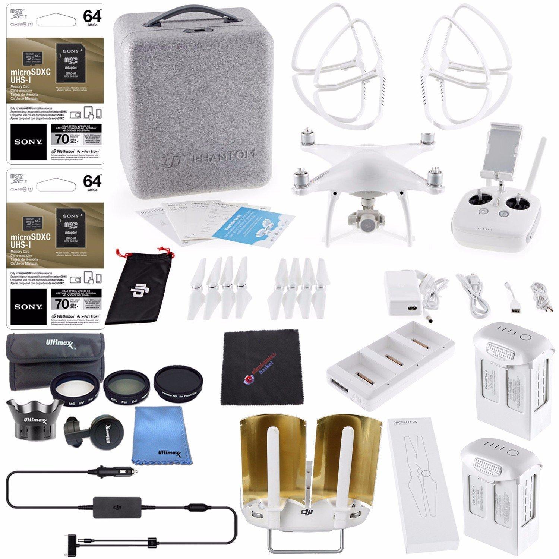 DJI Phantom 4 Quadcopter + Phantom 4 Series - Intelligent Flight Batteries 5870mAh + DJI Battery Charging Hub + DJI Car Charger + 7PC Filter Kit For Phantom 4 + Sony 64GB Card + Cloth Bundle
