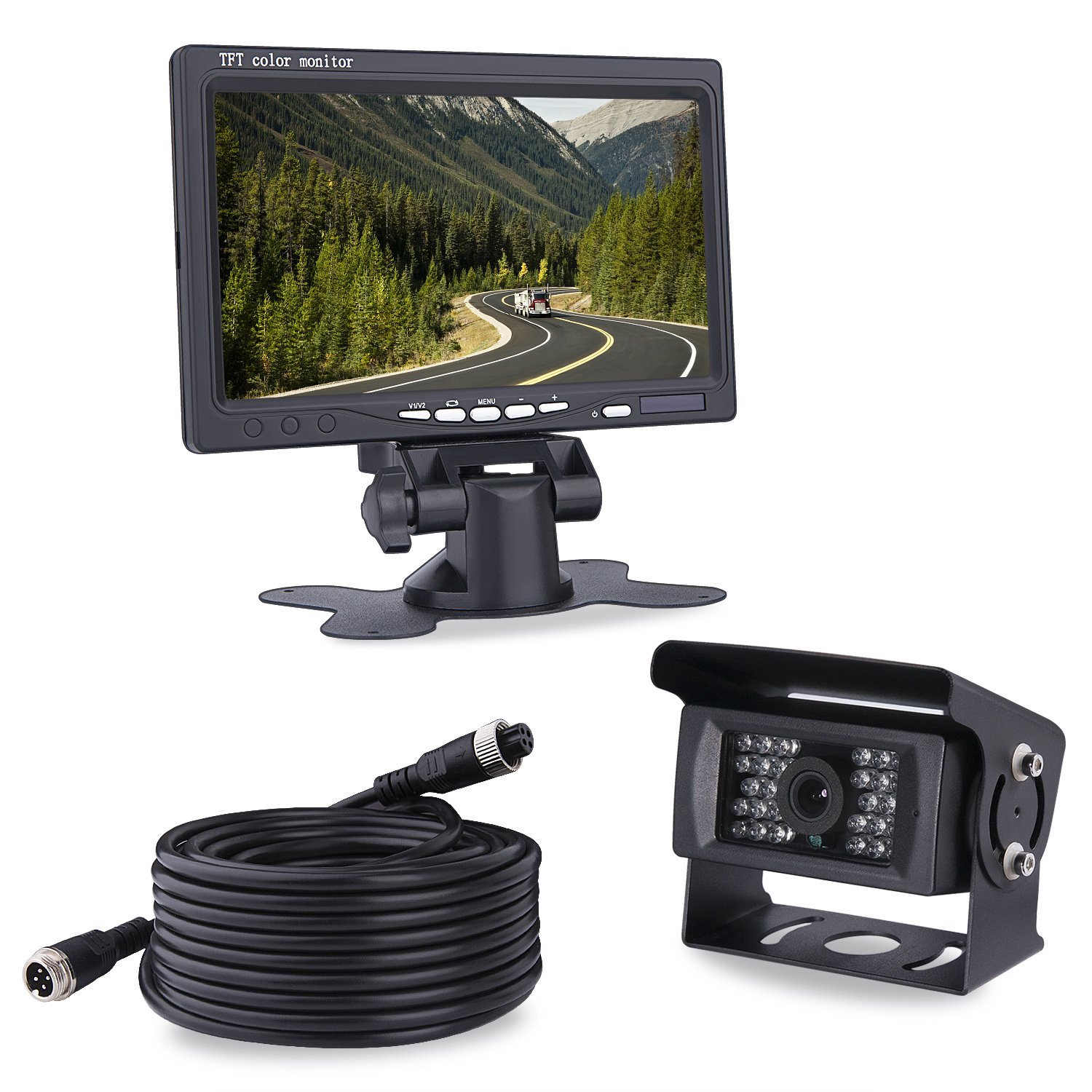 Car Backup Camera RV 7 Monitor Quad-View Split Screen Backup Camera System Monitor Kit Bus Motor Home and 5th Wheels Shockproof, 4 Pins Connector Backup Camera for Truck Trailer