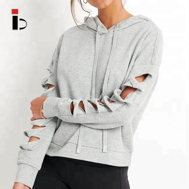 Cosy slash hole sides sleeve grey sports women hoodies