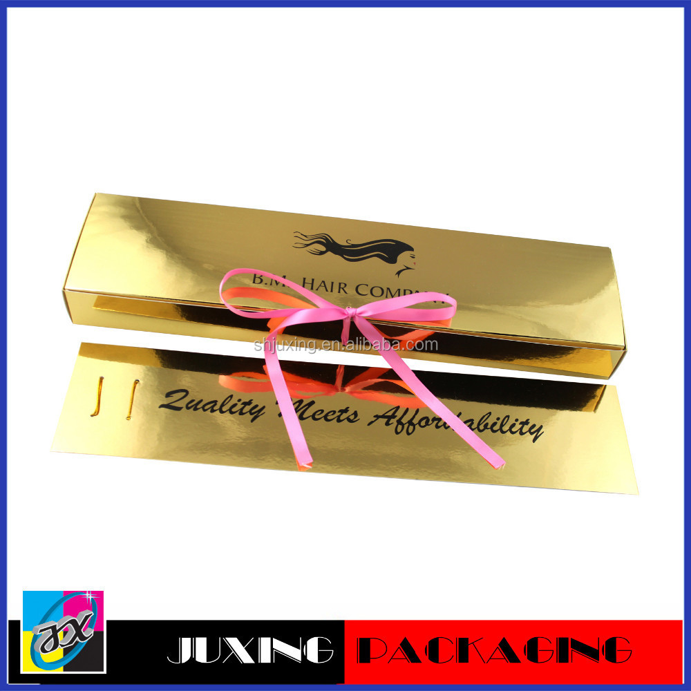 shiny gold packaging for weave hair packaging