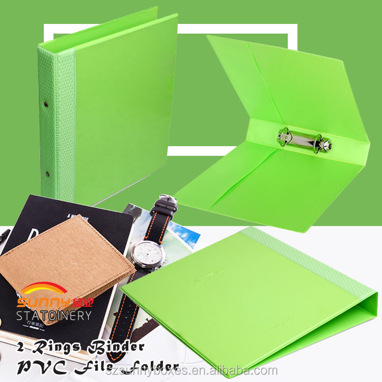 Custom printed PVC PU leather file folder with ring binder factory