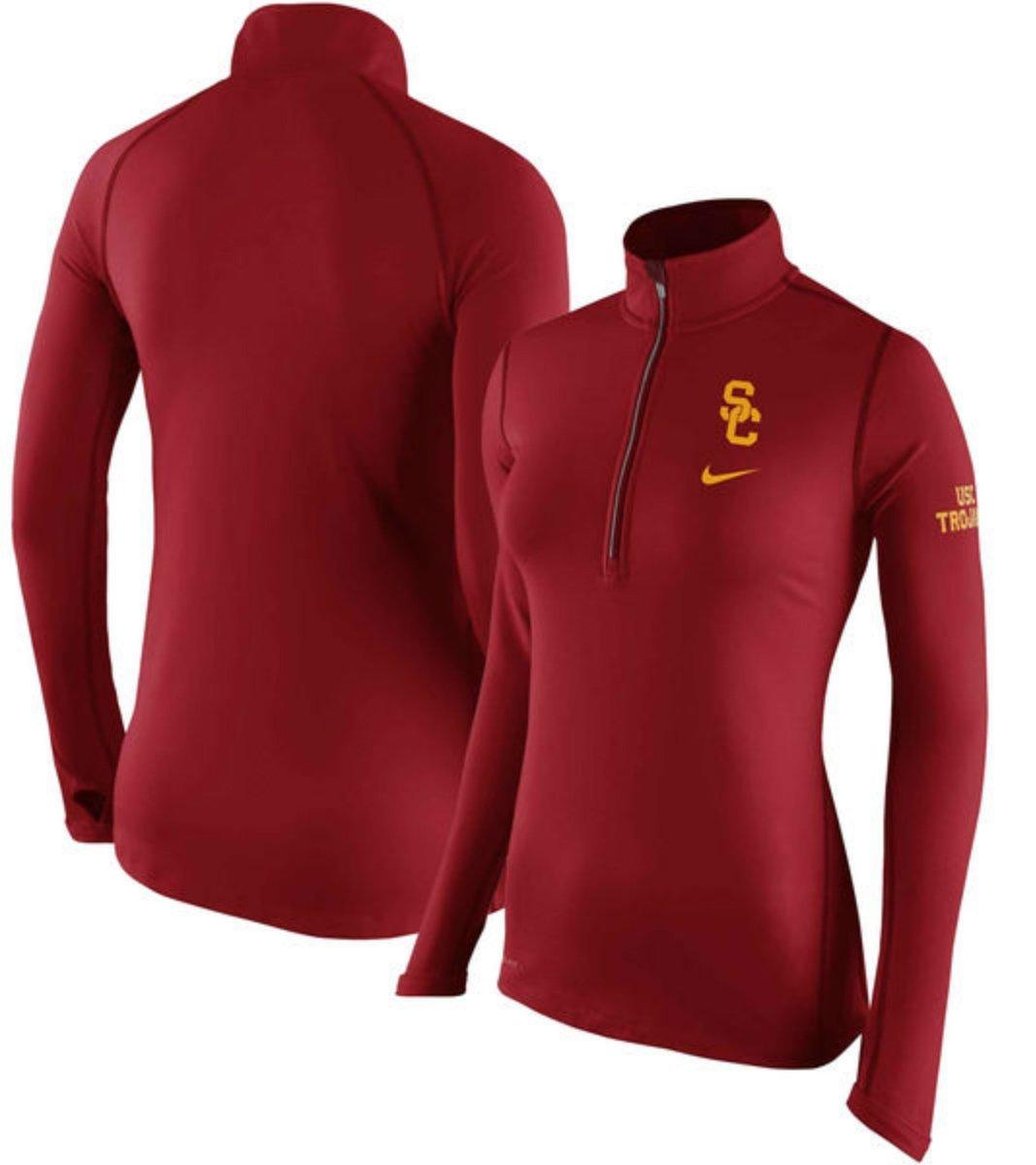 USC Trojans Nike NCAA Womens X-Large Tailgate Element Half Zip Shirt