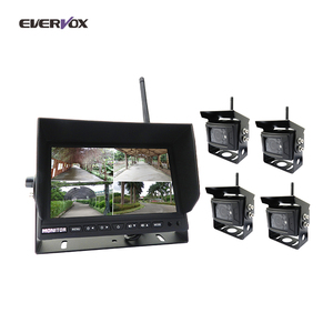 Custom size 2.4G wireless 4 video input car backup camera system for heavy duty truck