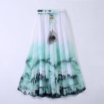 2016 Latest Beautiful Design Long Skirts Arabic Long Skirt Chiffon ...