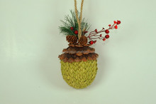 "red berry pinecone natural material 5-1/2""(14cm) Christmas ornament acorn"