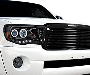 R&L Racing 05 06-10 Toyota Tacoma Black Horizontal Style Front Hood Bumper Grill Grille Abs