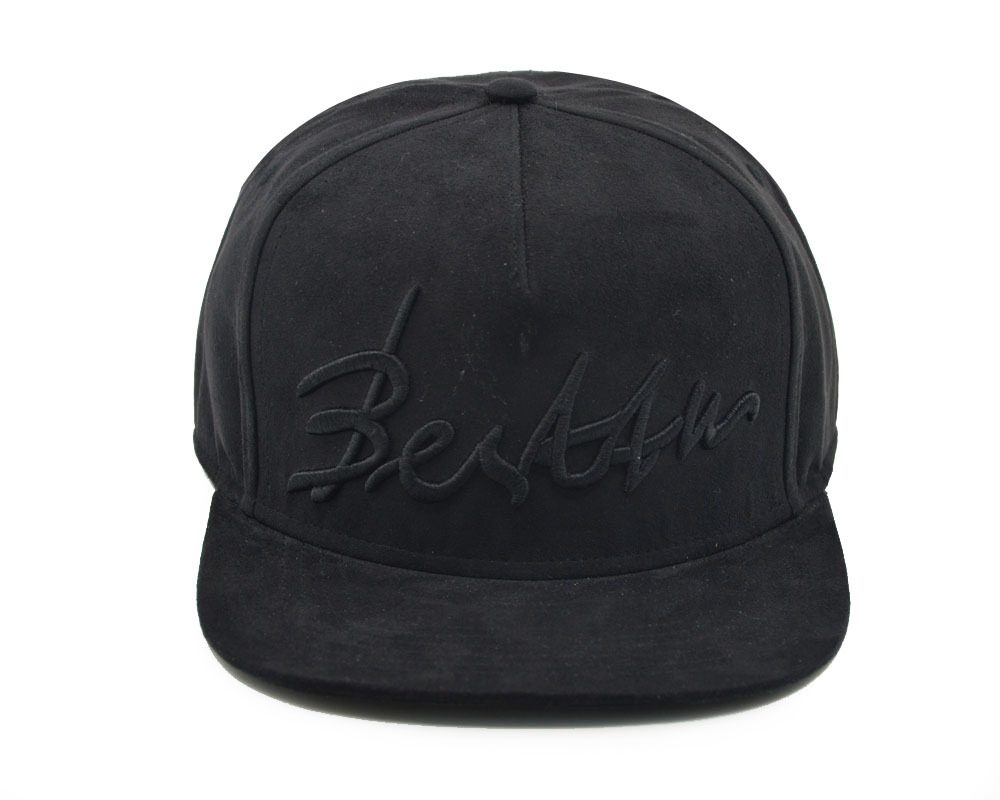 Custom 5 Panel Black Suede Snapback Hats Wholesale With Embroidery ... 3dd1d180aea