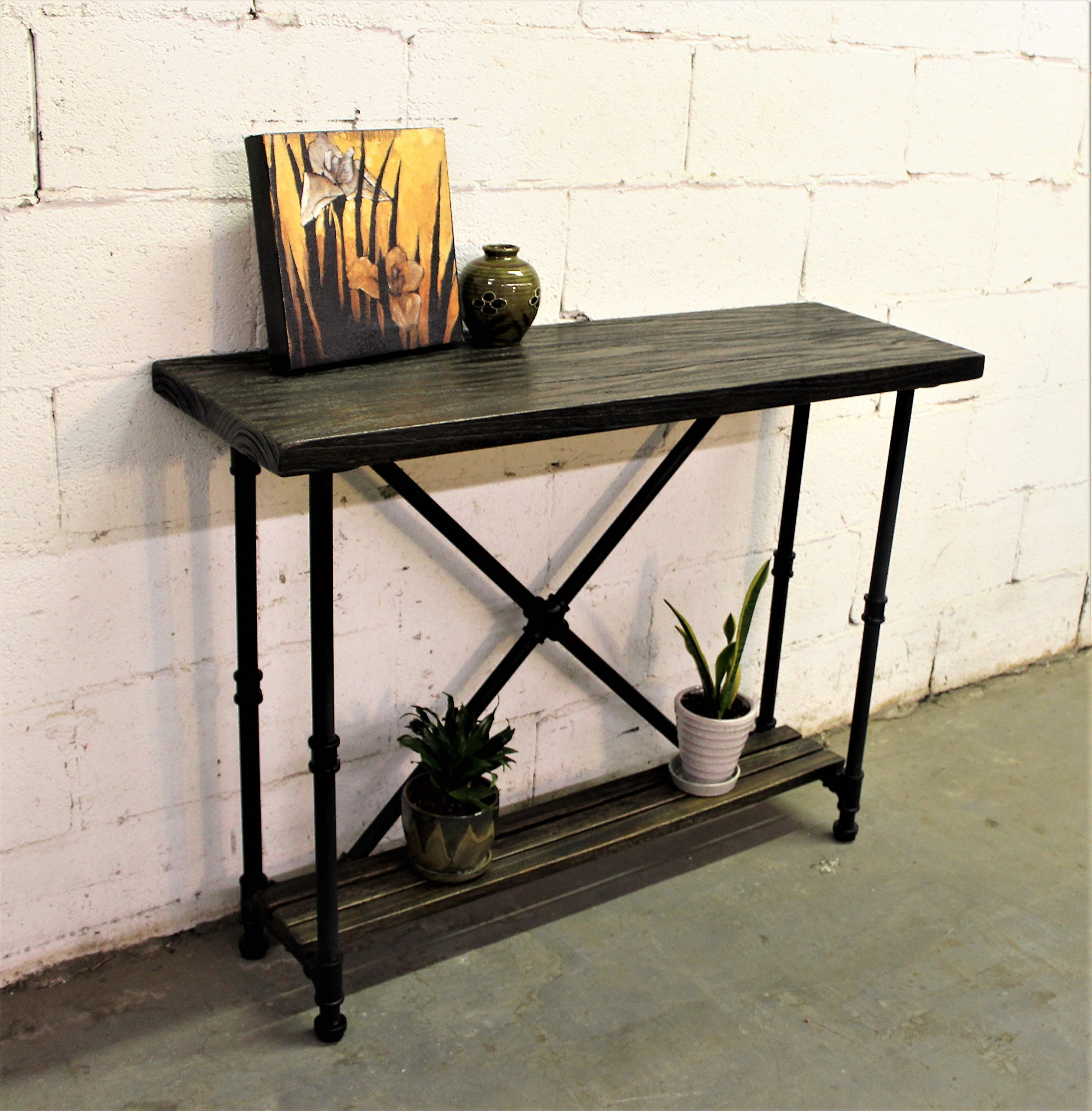 Furniture Pipeline Industrial, 2-Tier Console-Sofa Hall Table, Metal and Reclaimed Aged Wood Finish, Steel Pipes and Fittings with Stained Wood, Black/Dark Brown