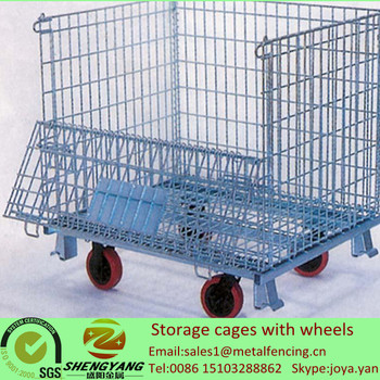Hot Recycle Collapsible Stillage Cages Galvanized Metal Wire Mesh Storage  Bins Factory Warehouse Used Storage Cages