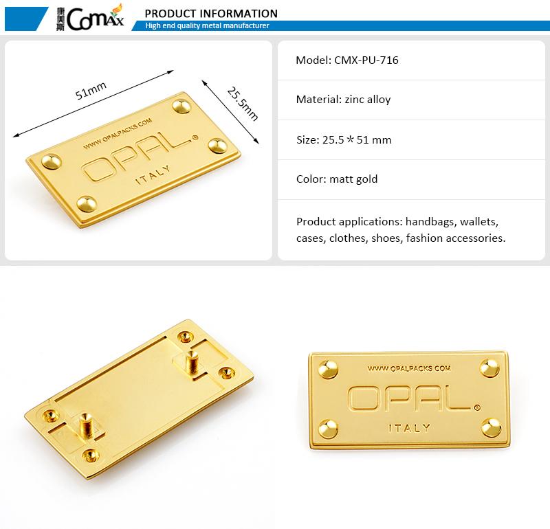 Gold Metal Custom Made Logo Plate For Bag Hardware Buy