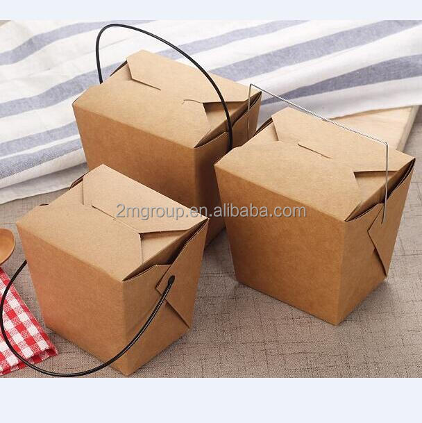 disposable wholesale stocked take away paper noodle food box with handle