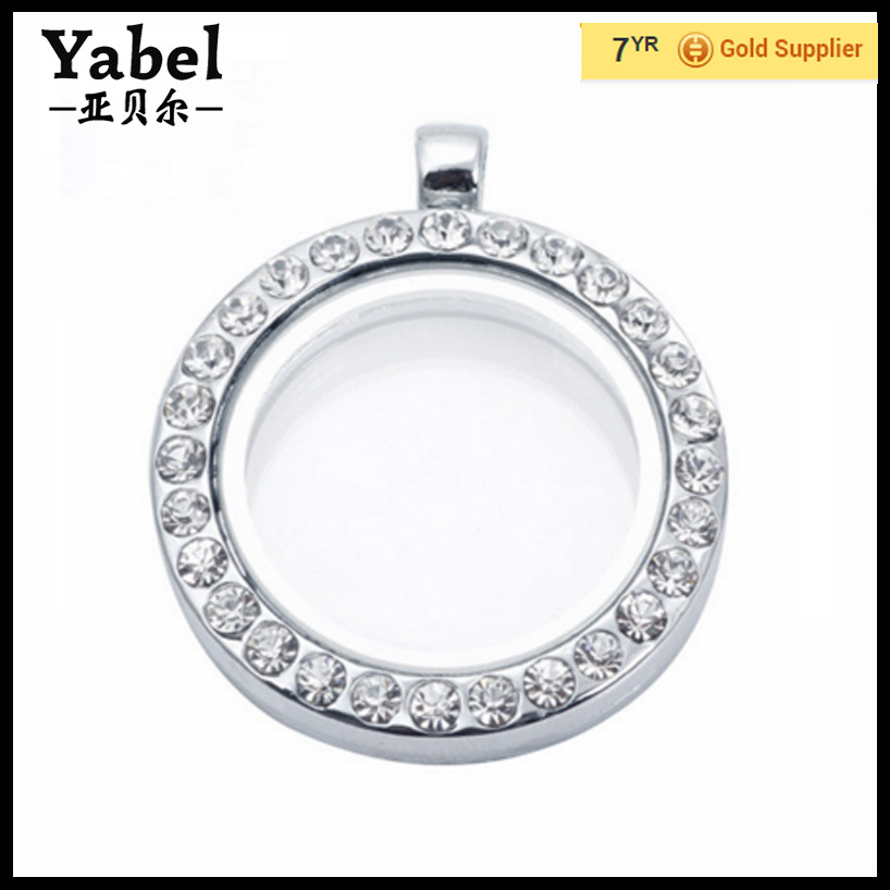30mm Zinc Alloy Rhinestone Floating Locket Charm Manufacturer,Silver Glass Locket