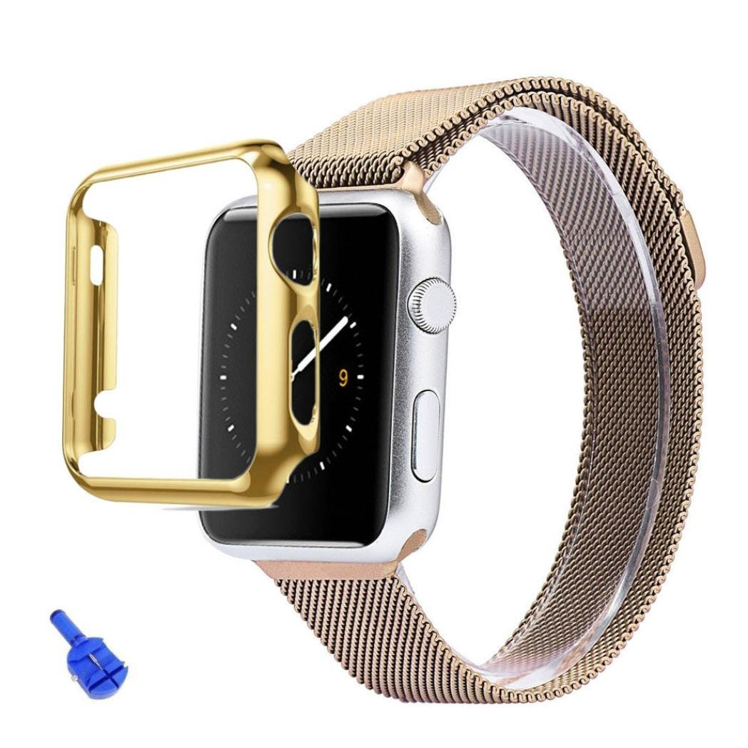 Elevin(TM) iWatch 38mm Smart Watch,Stainless Steel Strap Watch Band+Adapter+Case Cover (Gold )