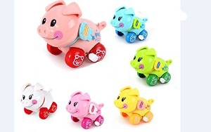 ZUINIUBI Small Clockwork toys 6pcs cute cartoon pig Baby learning to crawl toys child baby early education learning toys for boys girls 0-1 year old baby