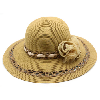 fc0c048d11d35 2018 Summer New Design Women Sun Lady Beach Outdoor Paper Straw Hat and Caps  with Flower