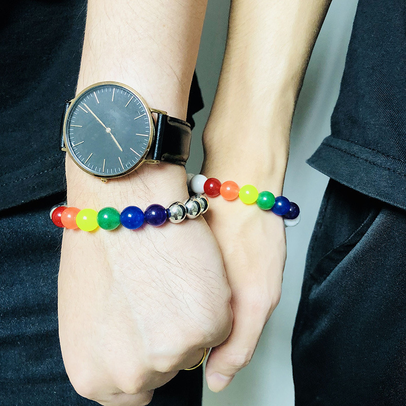 New fashion gay pride jewelry rainbow agate beaded bracelet