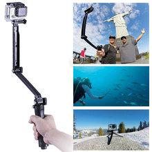 Gopro Accessories 3 Way Selfie Monopod Tripod Mini 3-Way Folding Holder For Gopro Hero 4 Session 2 3 3+Sj4000 Sports Cameras