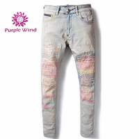 New style fashion skinny white color fabrics denim boy skinny pink jeans men male jeans pent