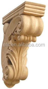 Unfinished Decorative Carved Wood Shelf Brackets For Home Decoration Efs C 081