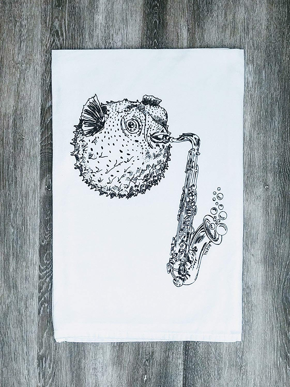 "Kitchen Towel - 26"" x 25"" - Flour Sack 100% Cotton Black Blow Fish Playing Saxohone"