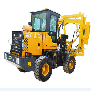 Guardrail installation machine of Loader type pile driver for road safety construction