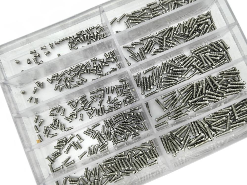 Толщина 1.2 мм из нержавеющей стали ассорти винты часы инструменты для ремонта часы 10 размеры ремонт часов набор инструментов