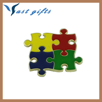gifts silver plated wholesale autism awareness enamel lapel pin