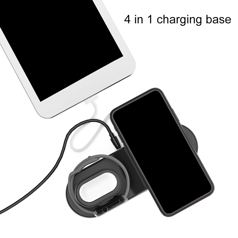 Wireless Qi Charger 15w Fast Wireless Mobile Phone Charger Adapter 4 USB Port 3 In 1