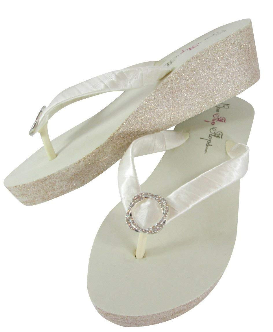 33baa0dc20fda Get Quotations · Customizable Jewel   Glitter Wedge White Flip Flops with  Bling Jewel for Wedding Sandals