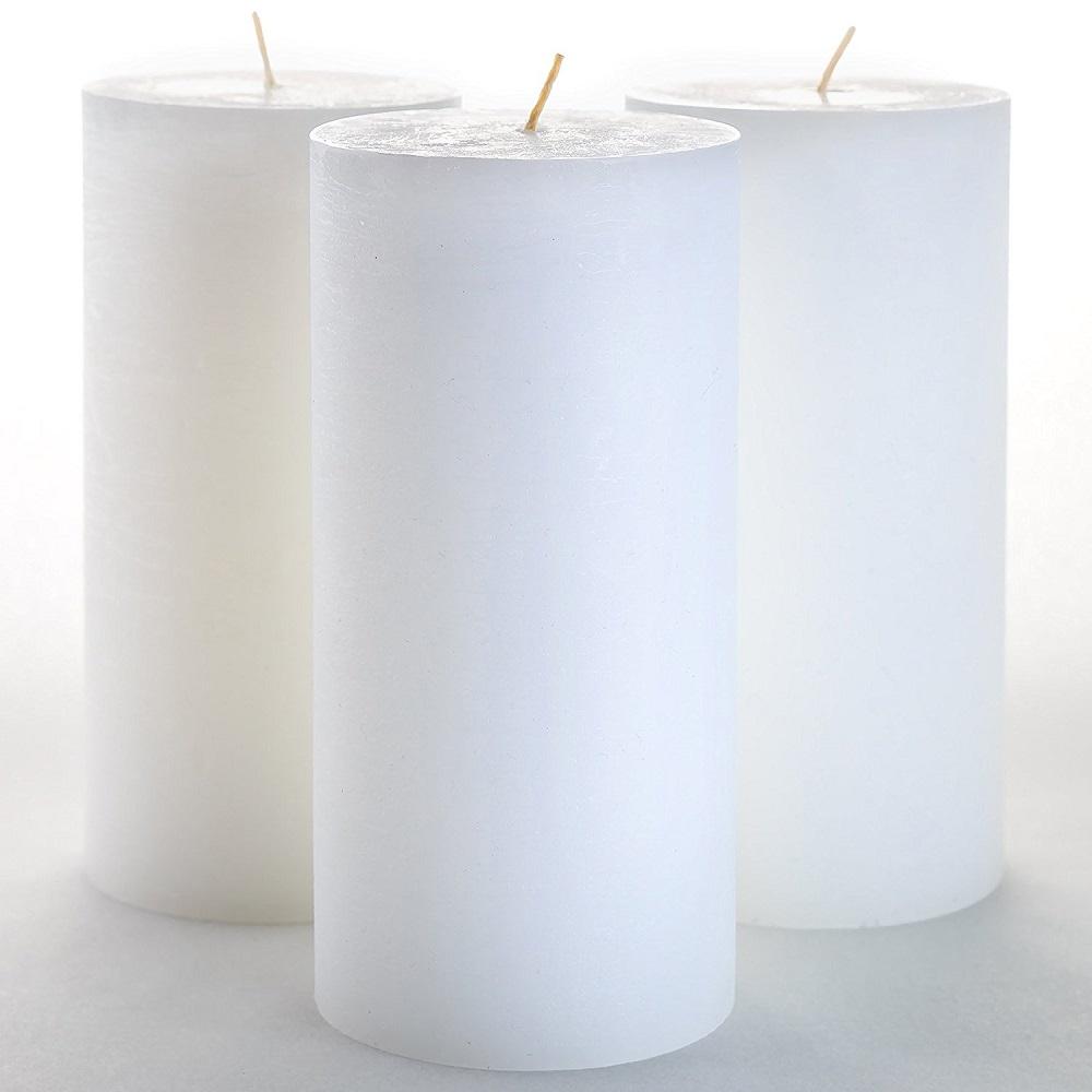 6X White Unscented Dipped Pillar Candles Restaurant Home Wedding Decor 5x5cm