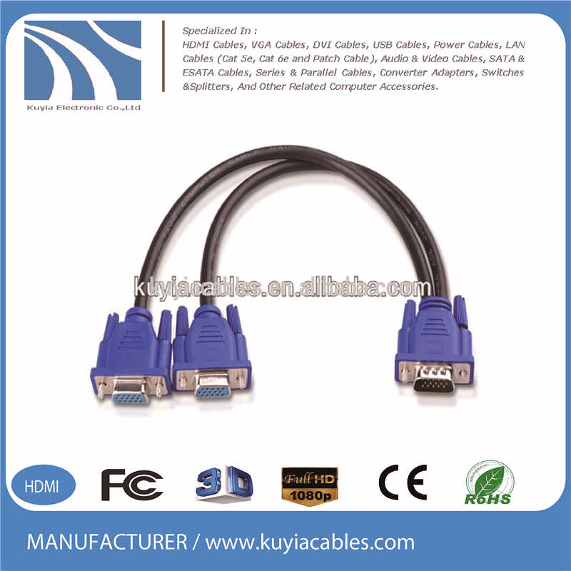 15 Pin Vga 1 To 2 Splitter Cable Wiring Diagram Vga Cable - Buy 15 ...
