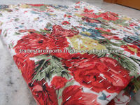 Handmade floral Printed Bedspread, Queen Size Kantha Quilt, Reversible Floral Kantha Throw