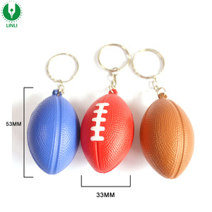 Custom 3D Mini Anti-Stress Football Foam PU Rugby Ball Keychain